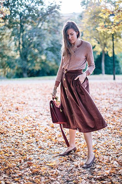 Look éco-responsable d'automne : gilet #vegan & jupe en velours #upcyclée