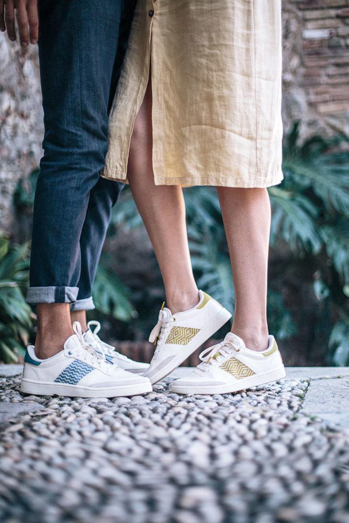 Couple avec des baskets blanches éthiques solidaires unisexes ngo shoes