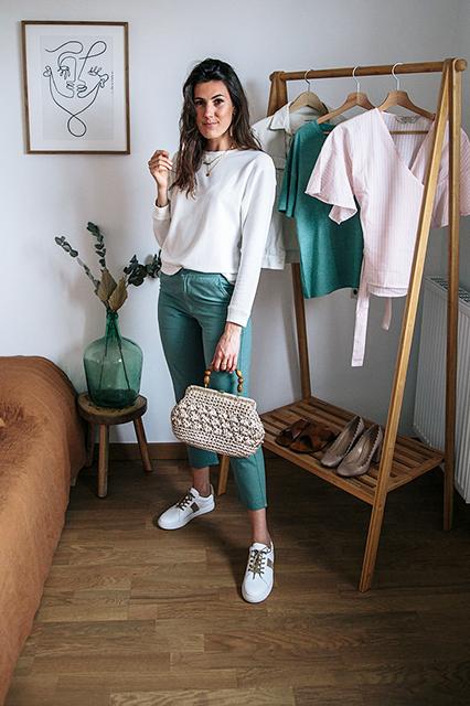 3 idées de tenues de printemps éco-responsables avec le même pantalon